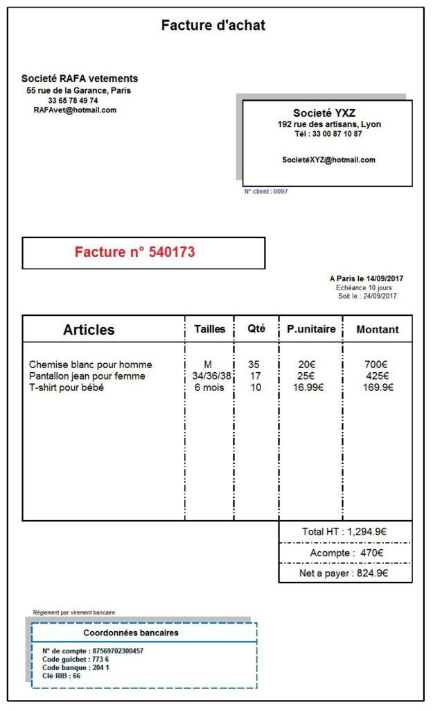 Explication sur la facture d'achat | exercice et exemple